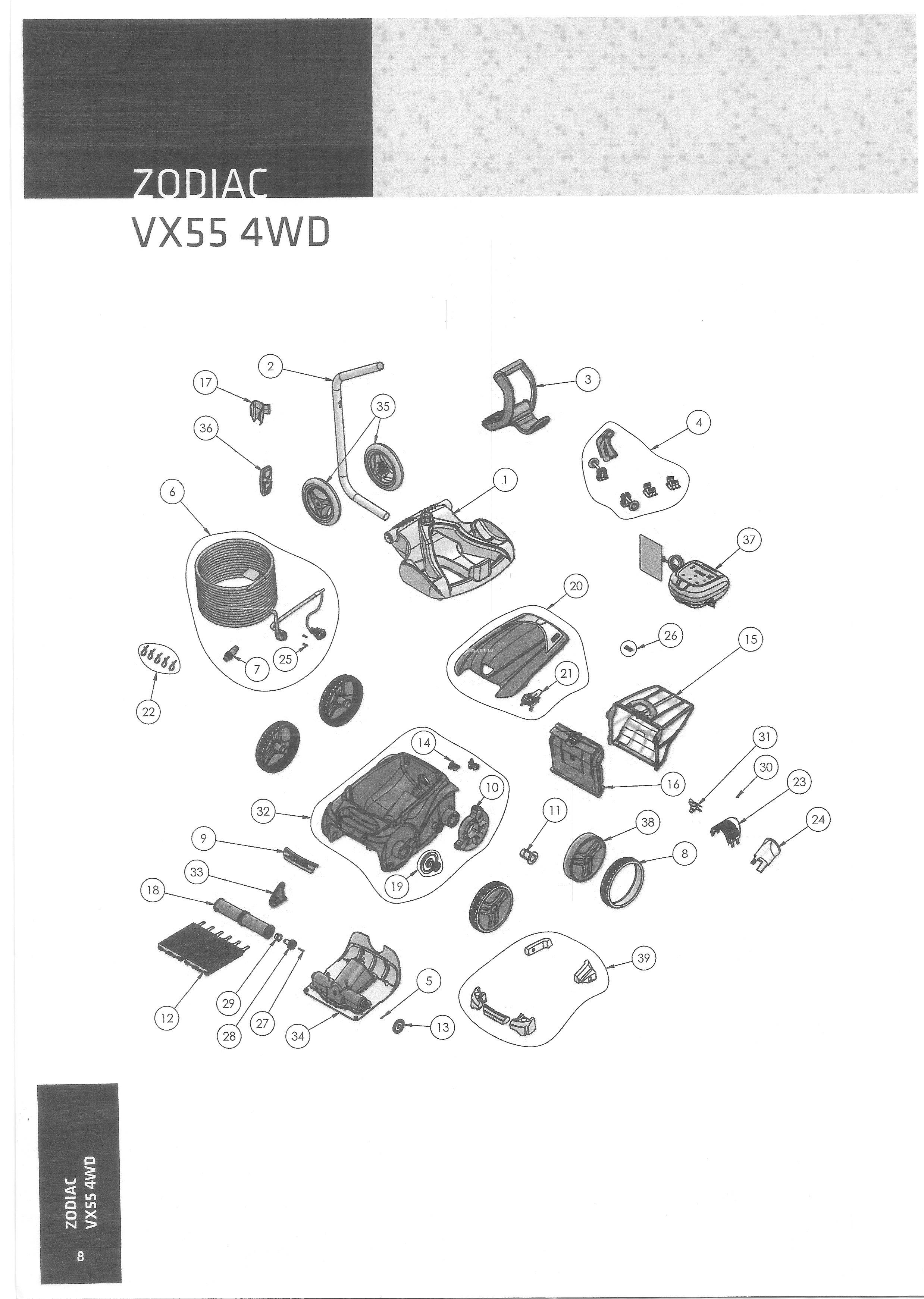 Zodiac Vx55 4wd V4 4wd Genuine Spare Parts Quot Free Shipping Quot